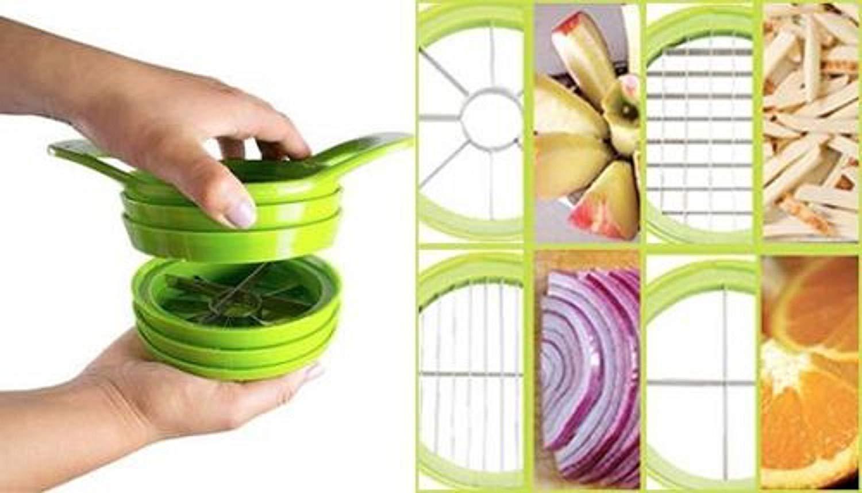 Vegetable Fruit Chopper Dicer Multi-Function Chop & Dice - 4 in 1 Slicer (Green, Yellow, Orange - Random Colors Sent)