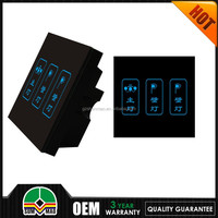 2015 Wallpad Customize LED UK Black Waterproof Crystal Glass Touch switch 5 gang 1 way Touch Light Wall Switch 110v -250v