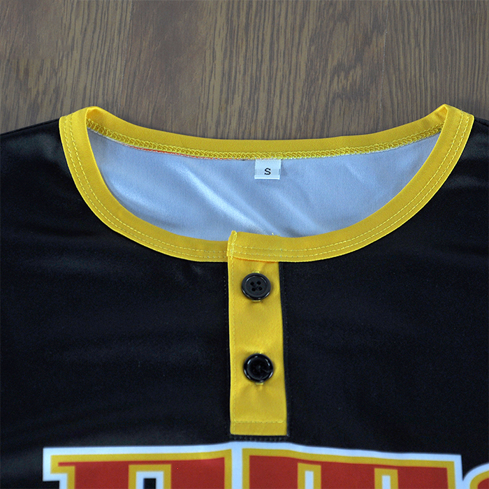 cheap wholesale plain button down baseball jerseys blank black baseball jersey