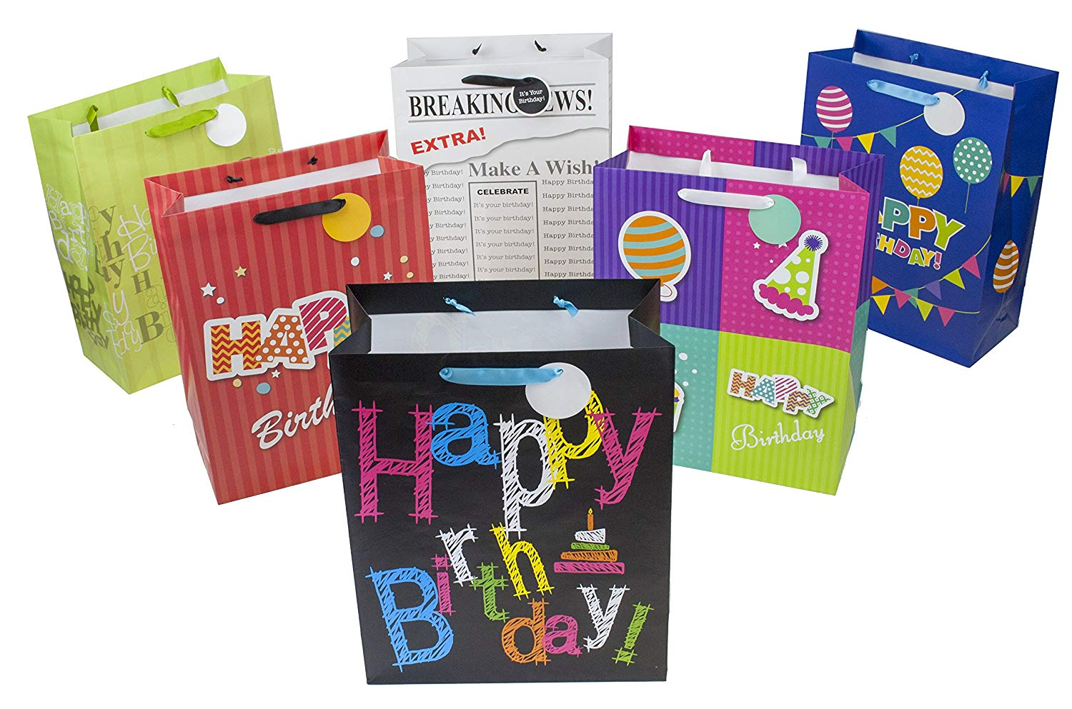 "12 Designer Birthday Gift Bags 16"" x 12"" x 6"" (Large) Assorted Designs by Heart Paper Products"