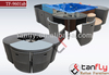 pool hot tub furniture waterproof rattan bar stools with tempered glass
