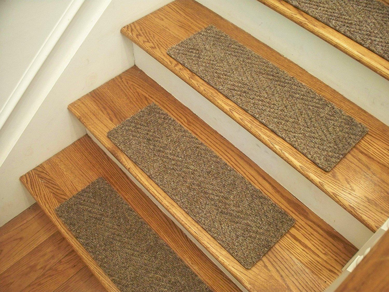 "Essential Carpet Stair Treads - Style: Herringbone - Color: Best Beige Gray - Size: 24"" x 8"" - Set of 13"