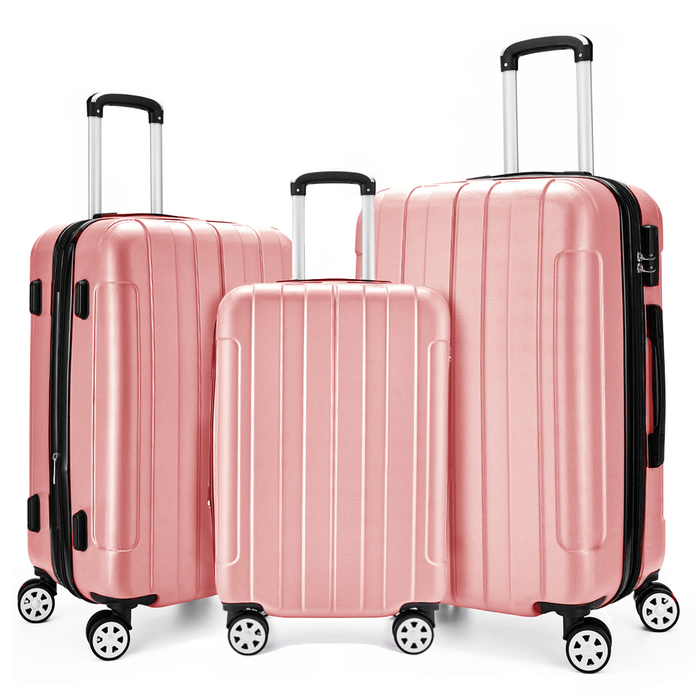 4cadf1c74 Rose Gold Girls Elegant Trolley Case 3pcs Hard Luggage Suitcase ...
