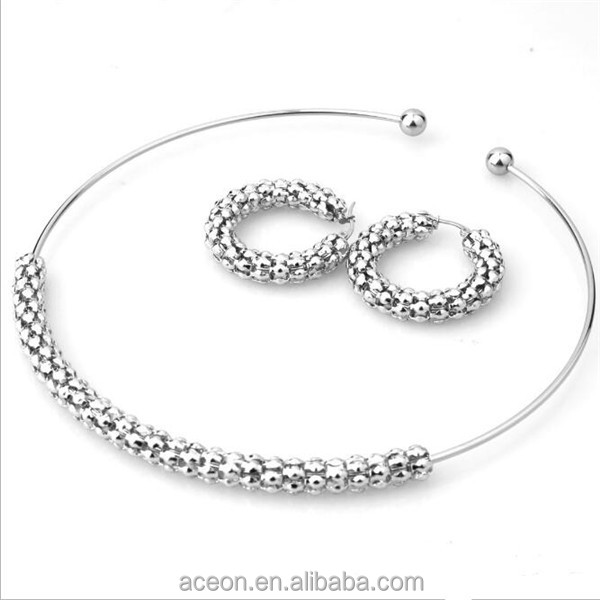 Yiwu Aceon Stainless Steel Pop Corn Choker Necklace Hoop Earring Set