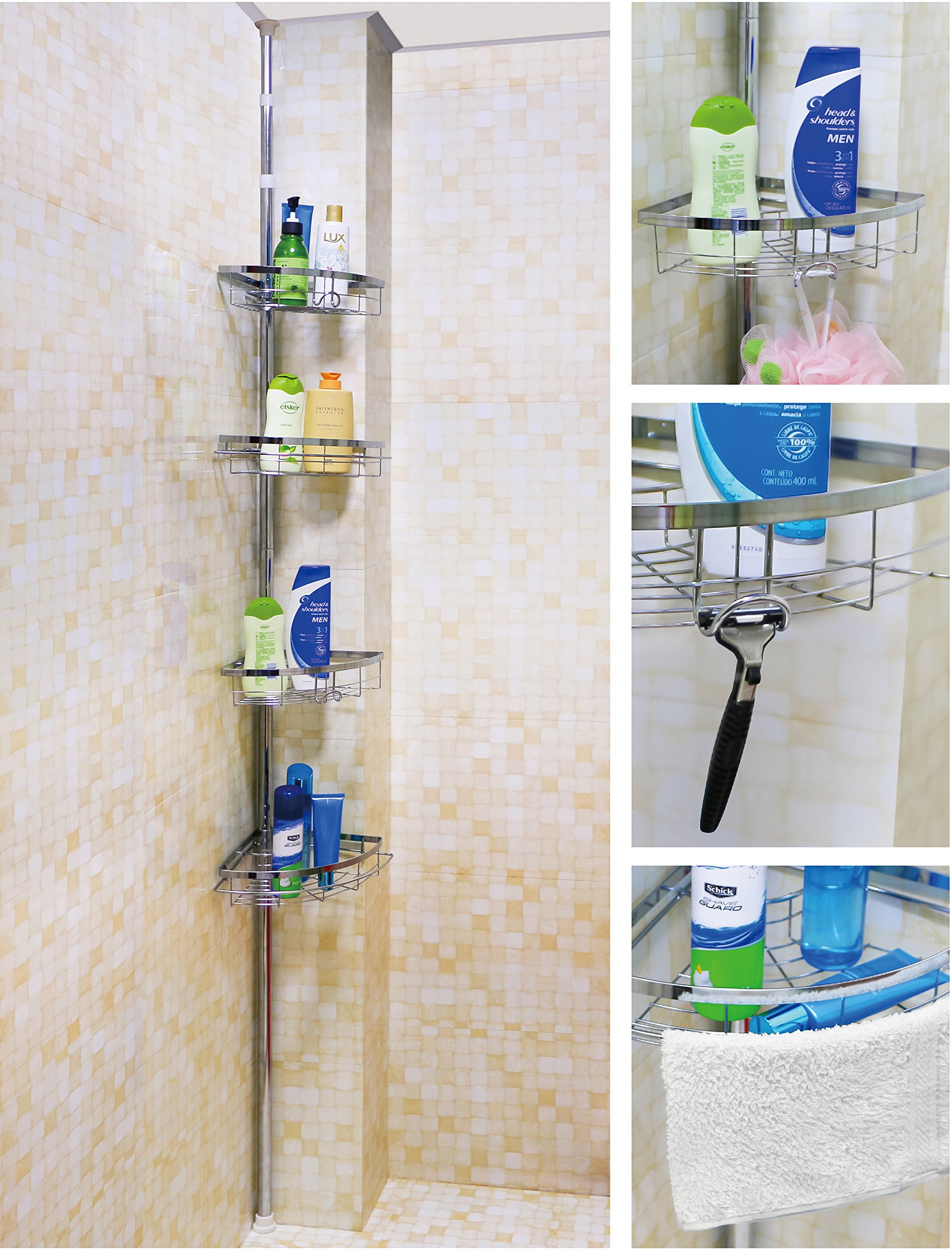 Get Quotations · Leapair Tension Shower Caddy 4 Tier Adjustable Bathroom  Constant Tension Corner Pole Caddy For Shampoo,