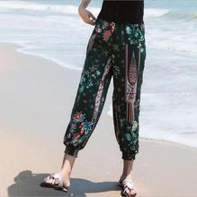 Summer thin print beach pants women spring trousers national trend female loose casual pants bloomers teenage girls