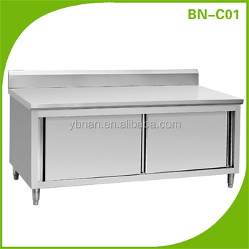 Stainless steel commercial restaurant kitchen cabinet with for Stainless steel kitchen cabinets manufacturers