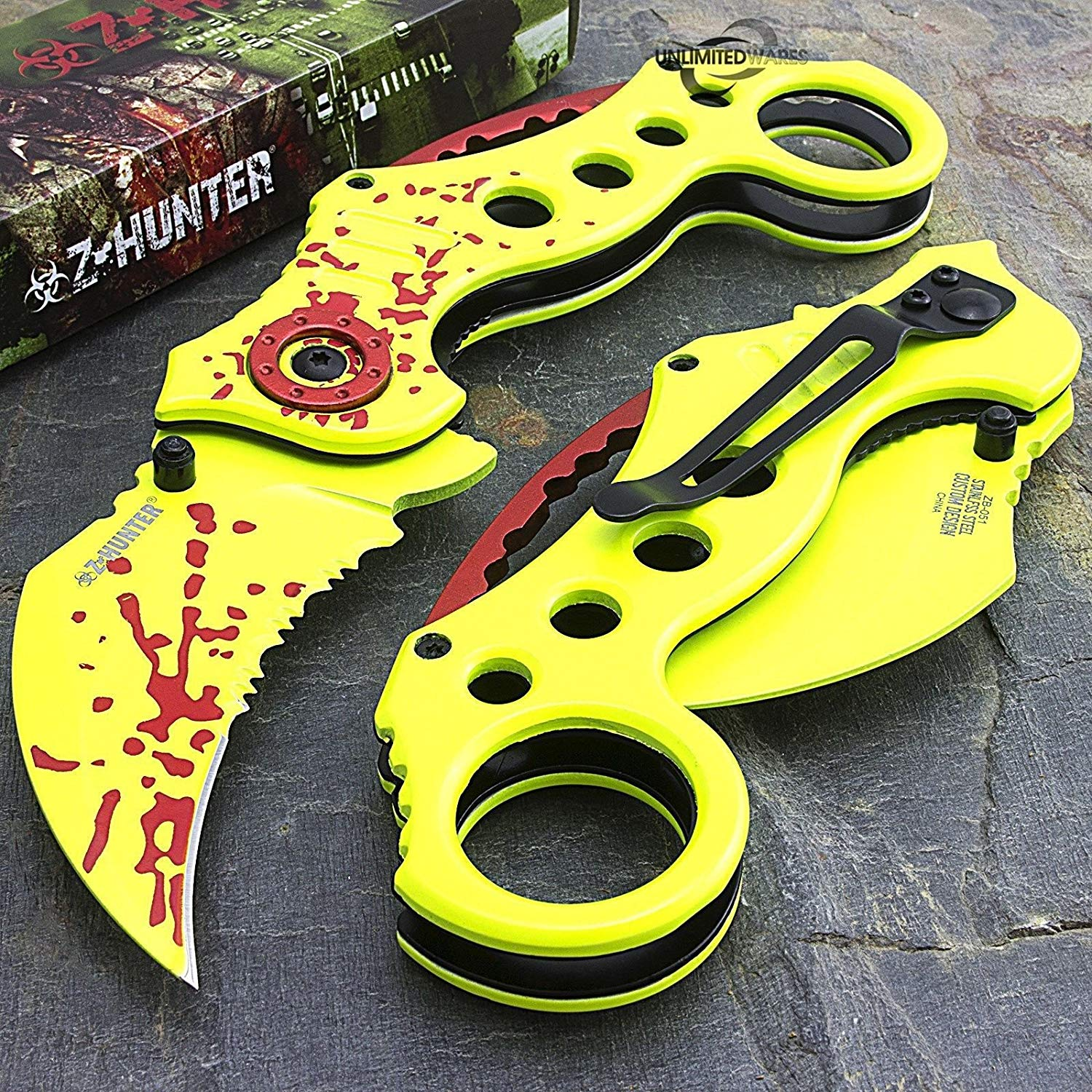 "Knife Tri 8"" ZOMBIE HUNTER KARAMBIT CLAW BLADE SPRING ASSISTED OPEN FOLDING POCKET KNIFE"