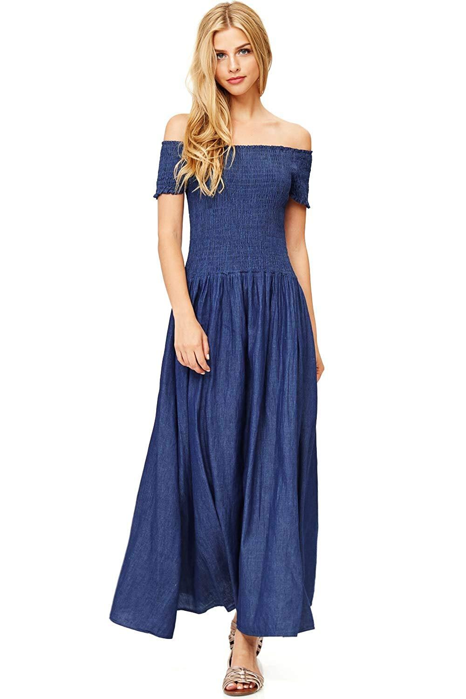 5b6d35db03f Get Quotations · Hendi Women s Juniors Super Cute Chambray Dress