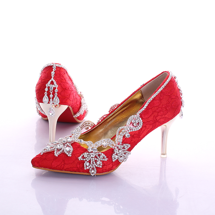 cdf7a6b78996 Buy White Red Luxury Lace Rhinestone Wedding Shoes Spring Women  39 s  Pointed Toe pendant bridal shoes thin heels wedding-shoes in Cheap Price on  m.alibaba. ...