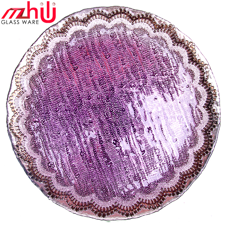 Large size Color Peacock glass plate electroplating glass plates Plating glass plates Handmade Wholesale