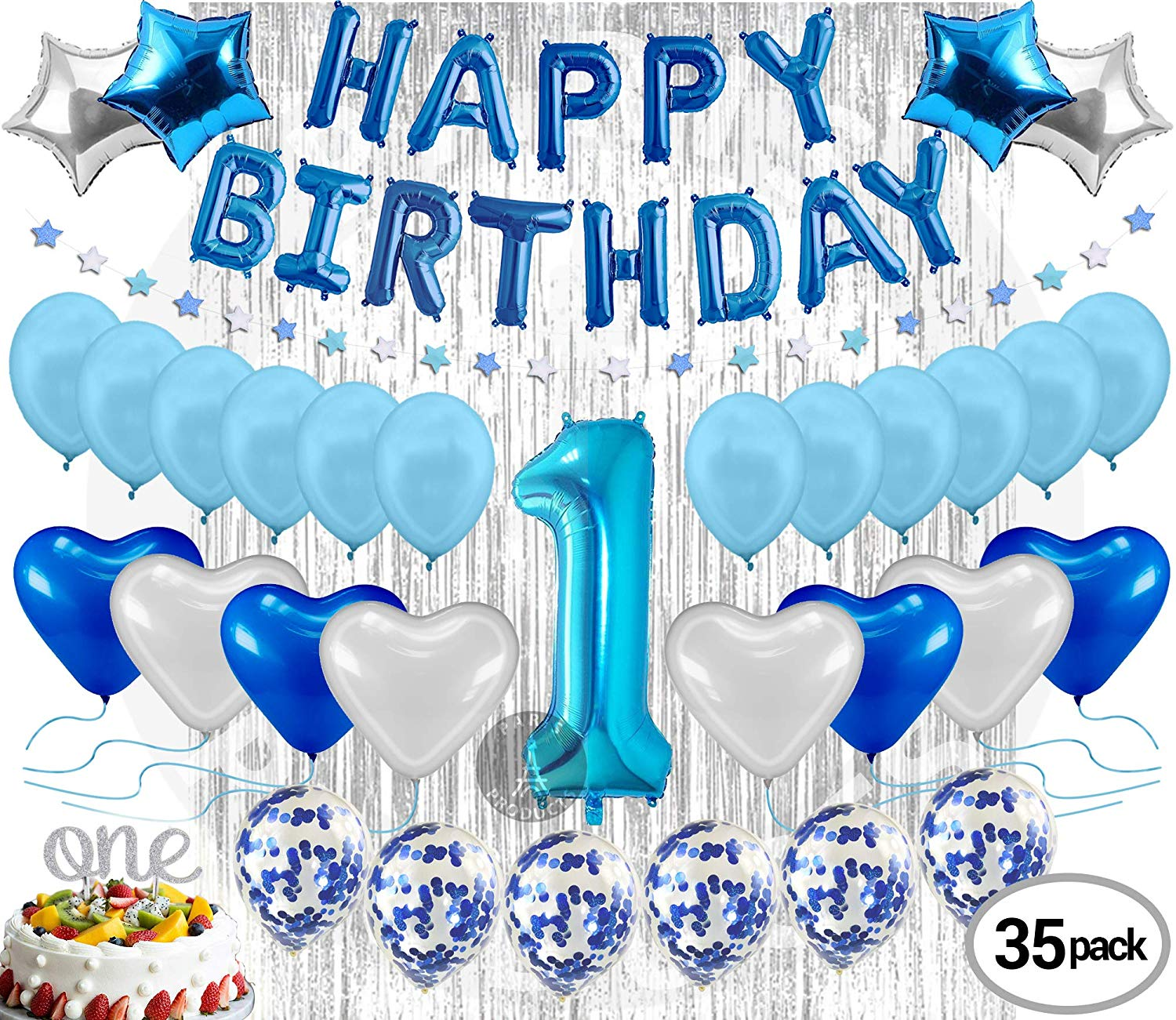 Get Quotations 1st Birthday Decoration For Baby Boy First Balloon Party Supplies Kit Banner