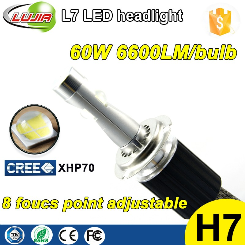3 years warranty good performance L7 6600lm XHP70 H7 car headlight bulb LED kit, 4300k 5000k 6000k LED kit D2R , D1R .D2C