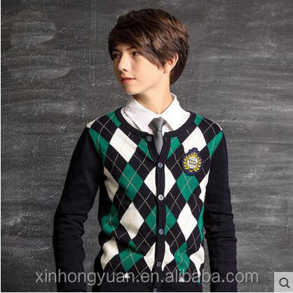 custom fashion spring red/green cotton school children o-neck collar knitting cardigan sweater coats