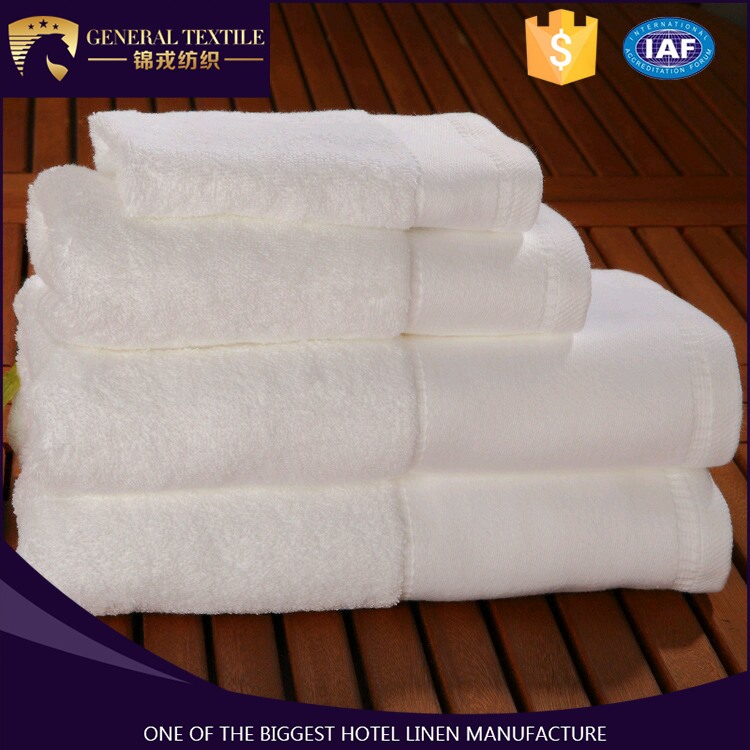 High quality 16s terry cloth 100% cotton white satin band hand towel