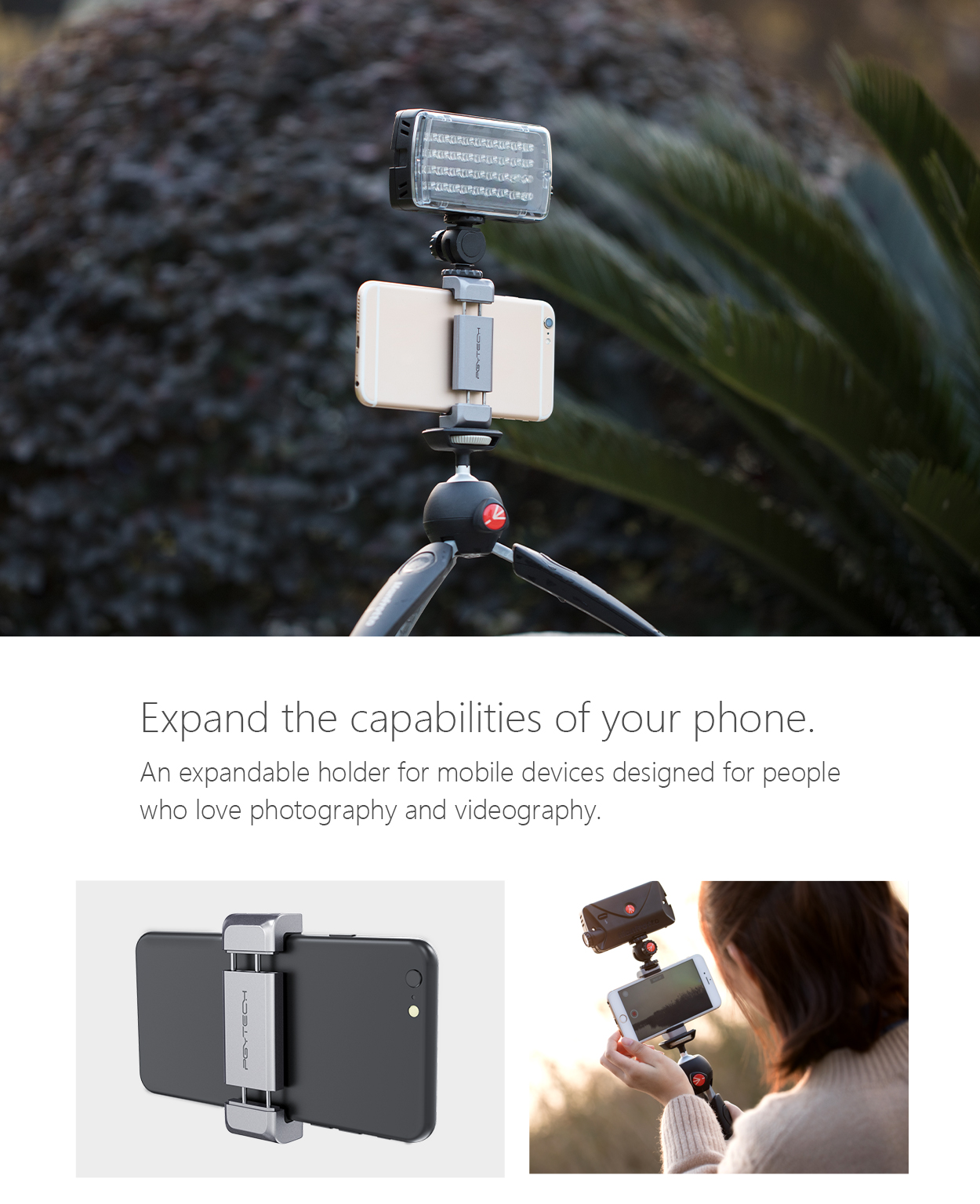 PGYTECH DJI OSMO Pocket Aluminum Universal Phone Holder Stand Handhold Stabilizer Bracket for OSMO Pocket Spare Part Accessory