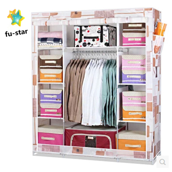 PN non-woven waterproof fabric wardrobe factory customize personal design portable folding steel wardrobes closets