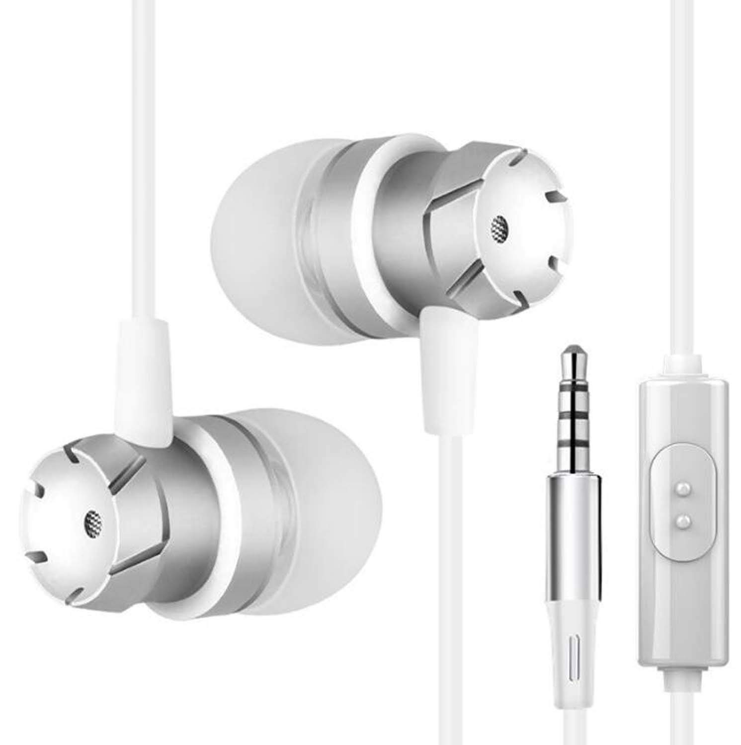 Hzhy In-ear Headphones Turbo Subwoofer With Wheat Wire Control Mobile Computer MP3 Universal Headphones (Color : White)