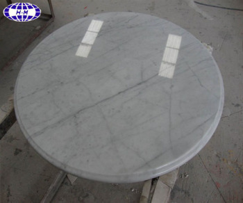 Beau White Round Marble Slab Table Top