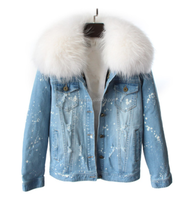 Women Winter Jeans Short Style Denim Jacket with Real Raccoon Fur Collar Fox Lining