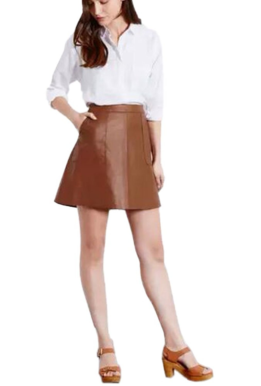 0a39e31c5d2d2 Get Quotations · Ouchi Women Ladies Fashion A line Mini PU Leather Skirt  High Waist Skirt
