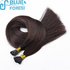 Thick Ends Shedding Free I tip hair extensions 100% Brazilian Remy Human Hair Jet Black Straight Wholesale Price
