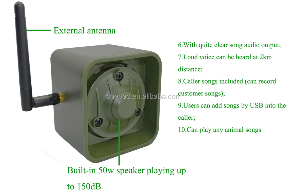 Outdoor hunting bird device mp3 bird caller 50w speaker with very clear sound output