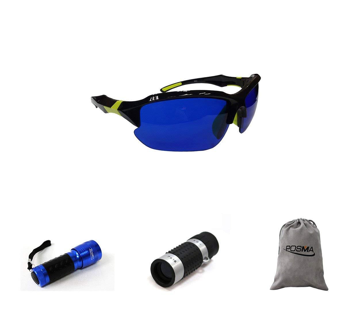 POSMA SGG-050D Golf Ball Finder Glasses Bundle Set with Golf Ball Finder Torch Ultraviolet UV Flashlight + Golf Rangefinder High Definition Mini Monocular Pocket Scope Flannel Storage Bag