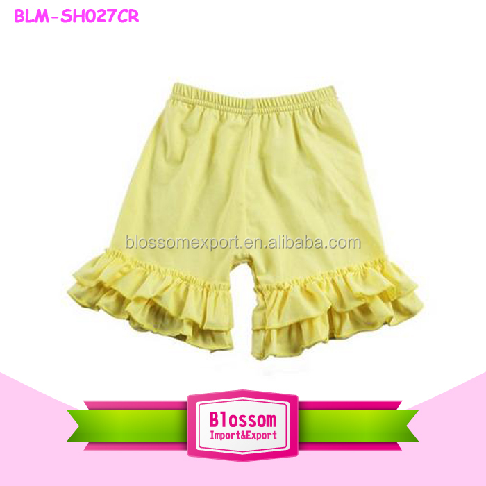 Hot Sale Kid Clothes black solid Color Back Ruffle Trim short Children Summer Baby Girl Boutique Shorts