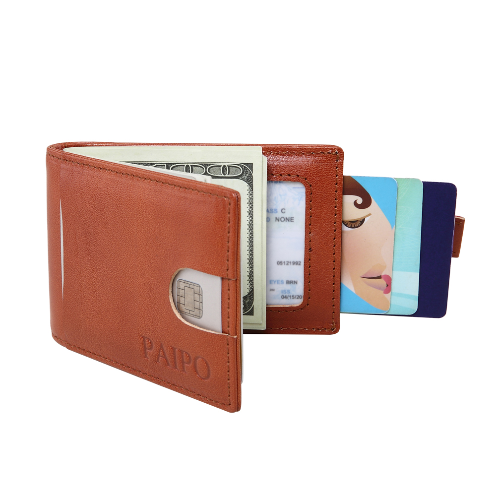 RFID Blocking Bifold Slim Genuine Leather Thin Minimalist Front Pocket Wallets for Men Money Clip Full Grain Leather