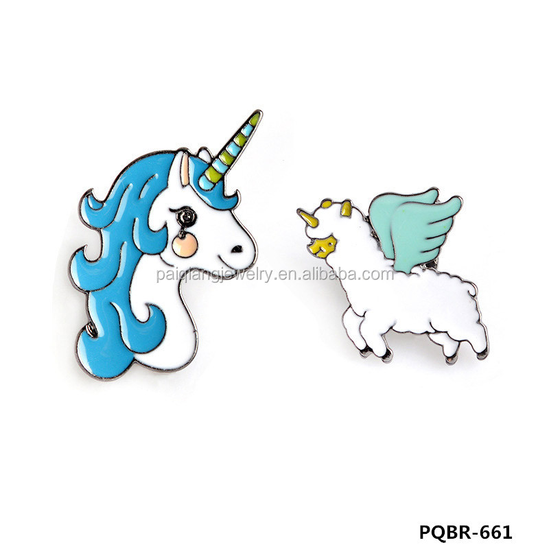 New design elegant enamel unicorn brooch