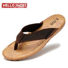 Men's flip flops Genuine leather Slippers Summer fashion beach shoes
