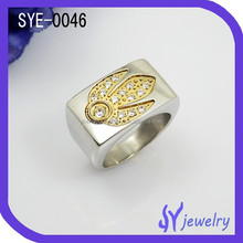 Promotional Latest Fashion Hot Sale Atlantis Stainless Steel Ring Micro Pave Setting Zircon