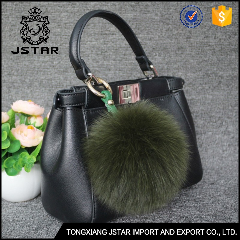 Wholesale green 13cm fox fur pom pom purse charm