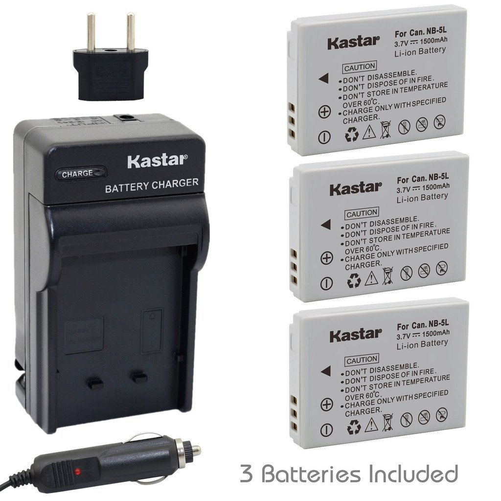 Kastar NB-5L Battery (3-Pack) and Charger for Canon PowerShot S100, S110, SD700, SD790, SD800, SD850, SD870 IS, SD880, SD890, SD900, SD950, SD970 IS, SD990 IS, SX200 IS, SX210 IS, SX220 IS, SX230 HS