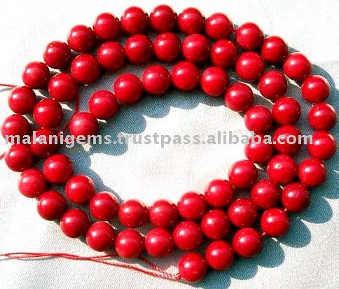 6mm Red Coral Plain Round Beads