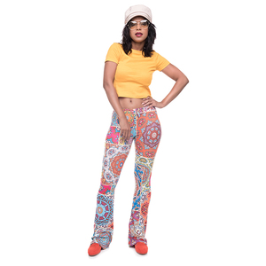 Hot Sale Oriental Patches Printed Mandala Bell Bottom Leggings Women Yoga Flared Pants