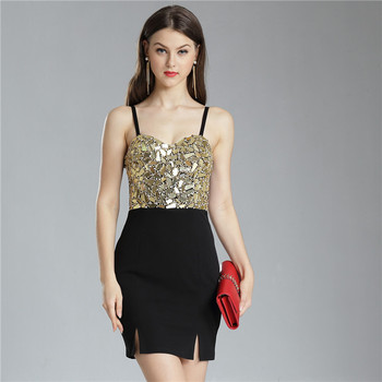 High Quality Fashion Ladies Gold Beaded Sequin Rhinestone Black African Satin Womens Party Bodycon Dress