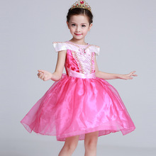 Summer Short Aurora Dresses Girls Pink Princess for Birthday Dancing Halloween Party