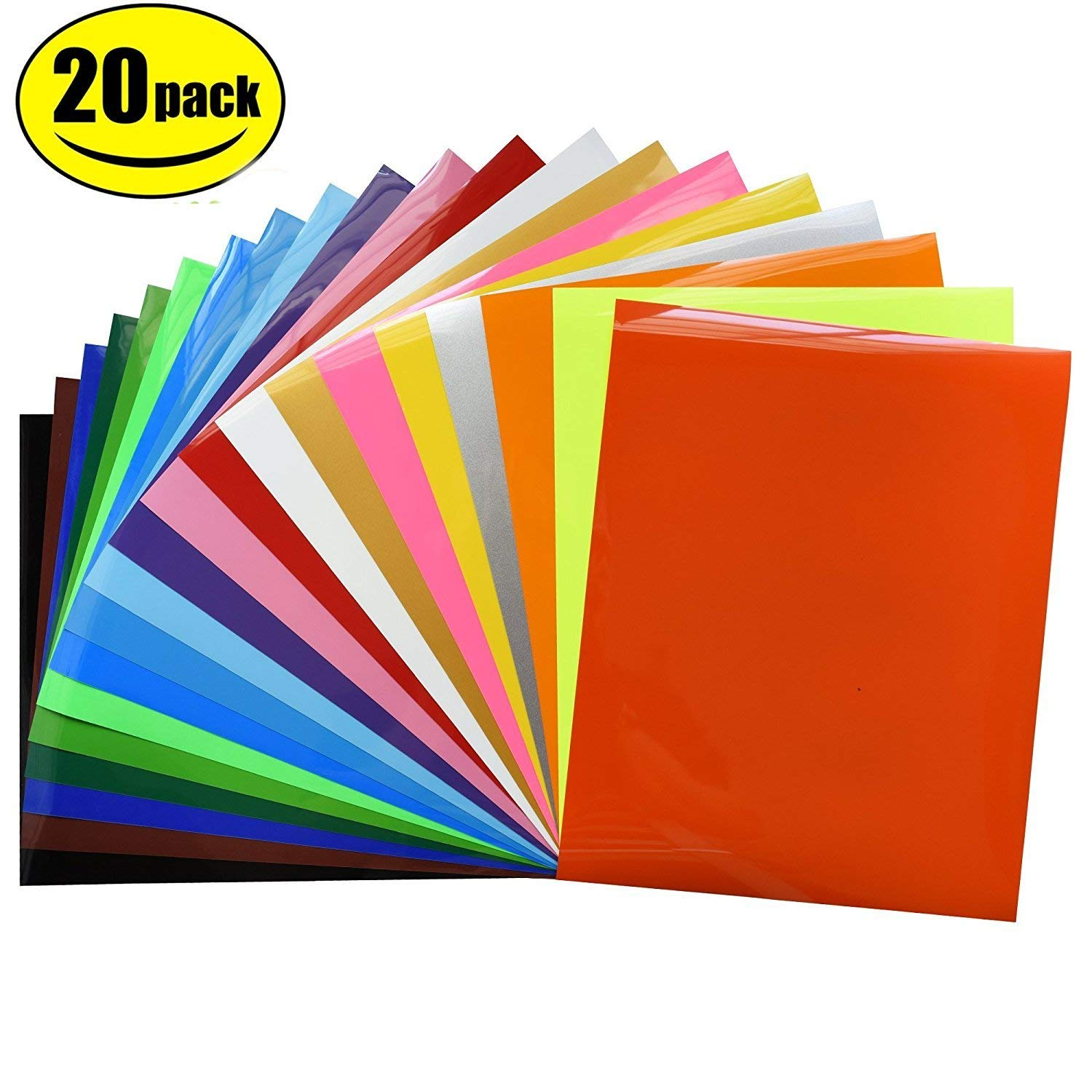 "Heat Transfer Vinyl Bundle 12""x10""- 20 Pack of Assorted Color DIY T-Shirt Vinyl Transfer Sheets -Best Iron On HTV Vinyl for Silhouette Cameo, Cricut - or Use with Heat Press Machine"