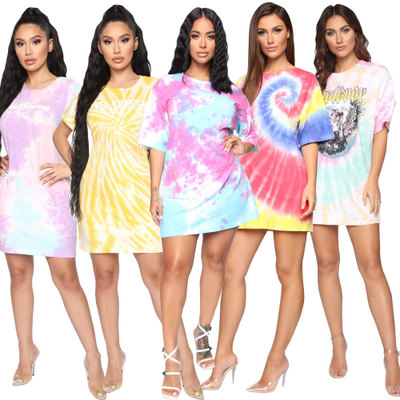 Ladies Short sleeve T Shirt Dress New Design Summer Printing Multicolor Casual Midi Dress tie dye oversized hip hop dress