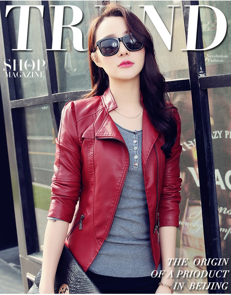 Popular Design Zipper Wine Red Leather Jacket Women Buy Leather