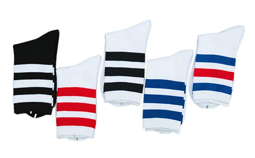 8c0dae99e65 Get Quotations · Toyobuy Unisex Classic Sport Three Stripe Crew Socks 5  Pairs
