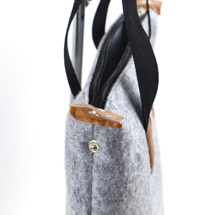 2019 New Fashion Custom Logo hand made polyester felt carry shopping tote gift bag, Eco Friendly Custom Women Felt Bag