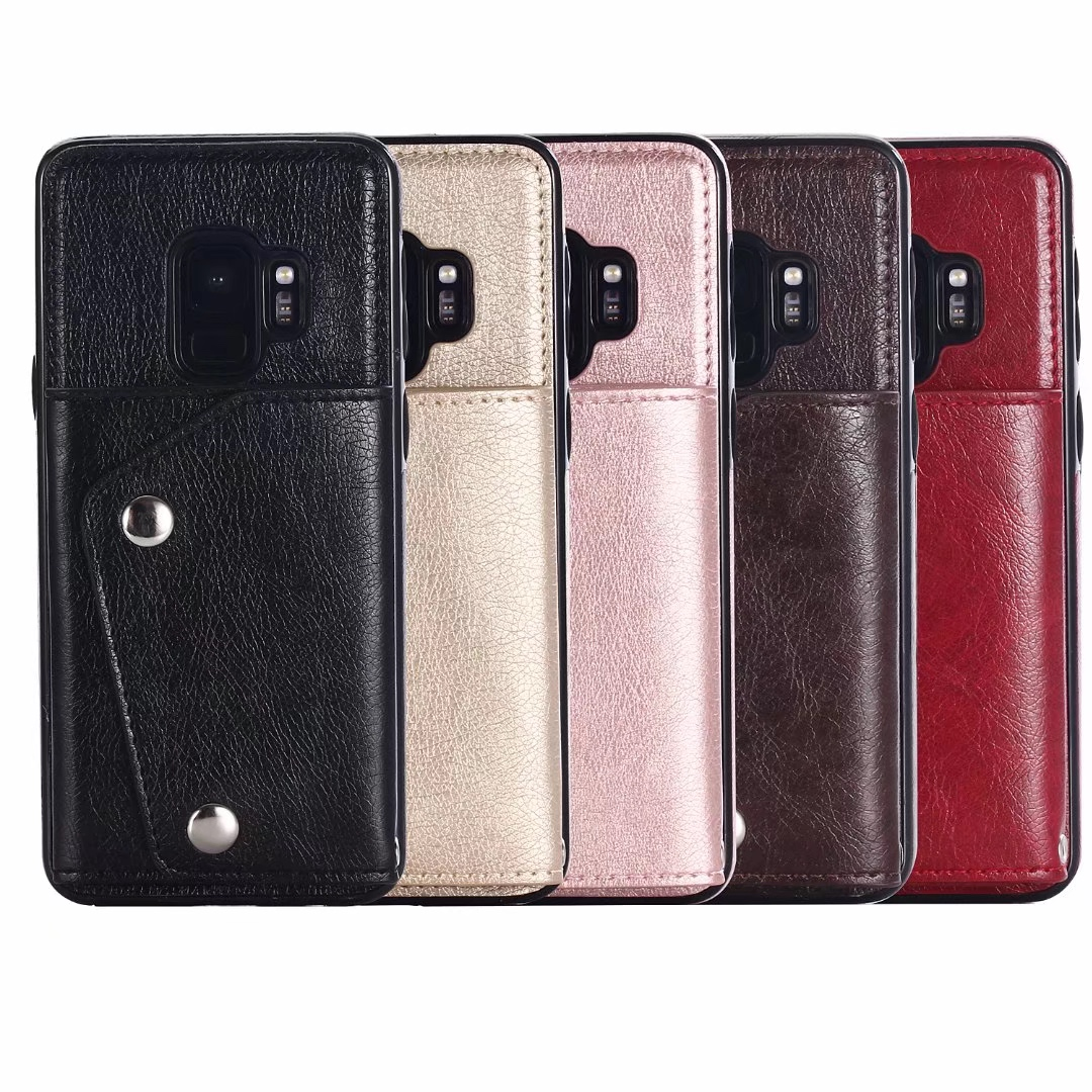 For Samsung Galaxy S9 S9 plus leather PU card Case back cover