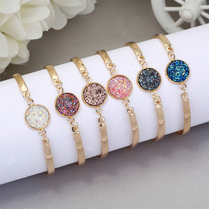 Cute Couple Love Crystal Bangles White and Blue Pink Nature Stone Resin Druzy Cuff Bangles