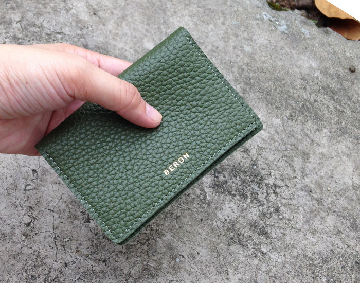 571e809082d6 slim glass green Italian leather card holder