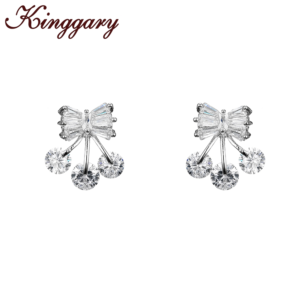 925 Sterling Silver Two Color Stud Earrings White Enamel Compatible With Jewelry With Cubic Zirconia Ample Supply And Prompt Delivery Earrings