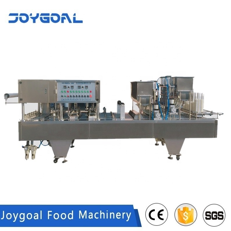 JOYGOAL Fully automatic plastic cup square box filling sealing machine for liquid water honey duck blood tofu sauce rolling film