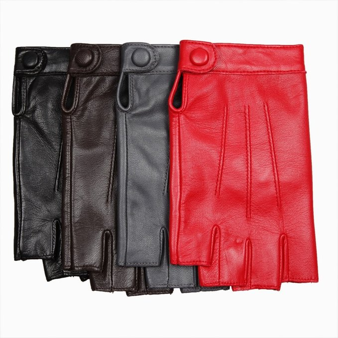 Women's Nappa Leather Half Finger Fingerless Motorcycle Fitness Cycling Hunting Driving Lined Gloves